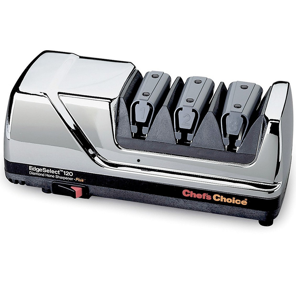 Click here to buy Chefs Choice 0120007 Diamond Hone EdgeSelect Plus Knife Sharpener in Chrome by Edgecraft.