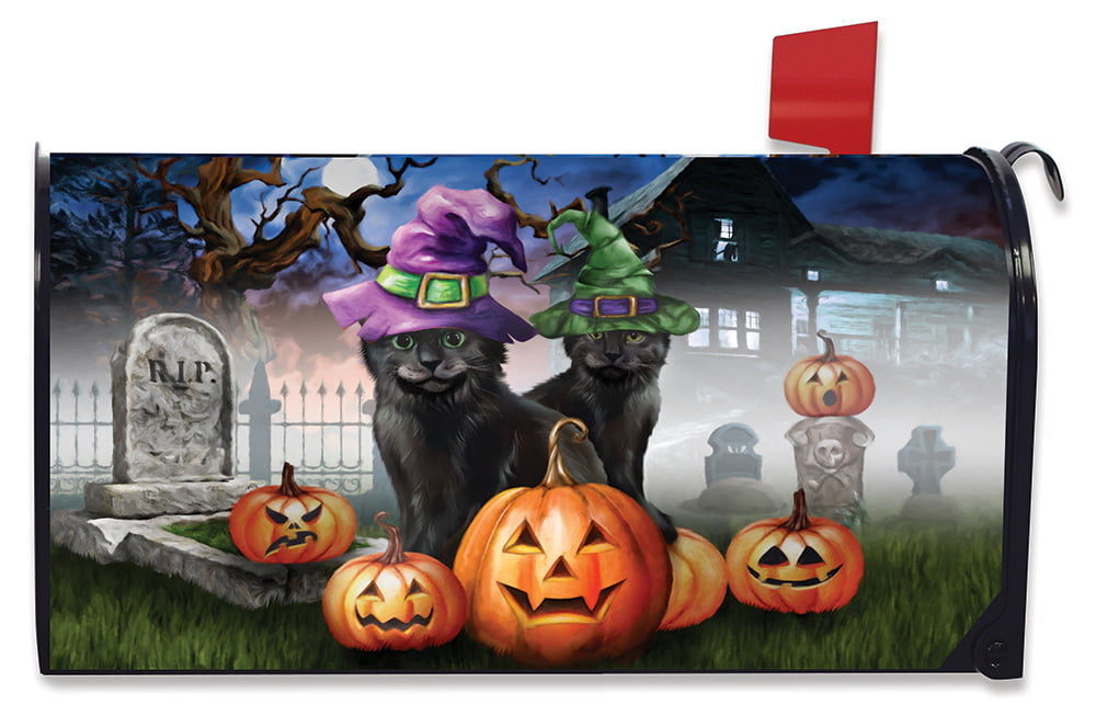 Spooky Kittens Halloween Magnetic Mailbox Cover Jack o/'Lanterns Standard