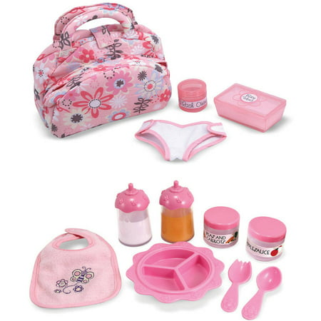 Melissa & Doug Doll Feeding and Changing Accessories, Bib, Bag, Diaper, Wipes, Utensils, Bottles