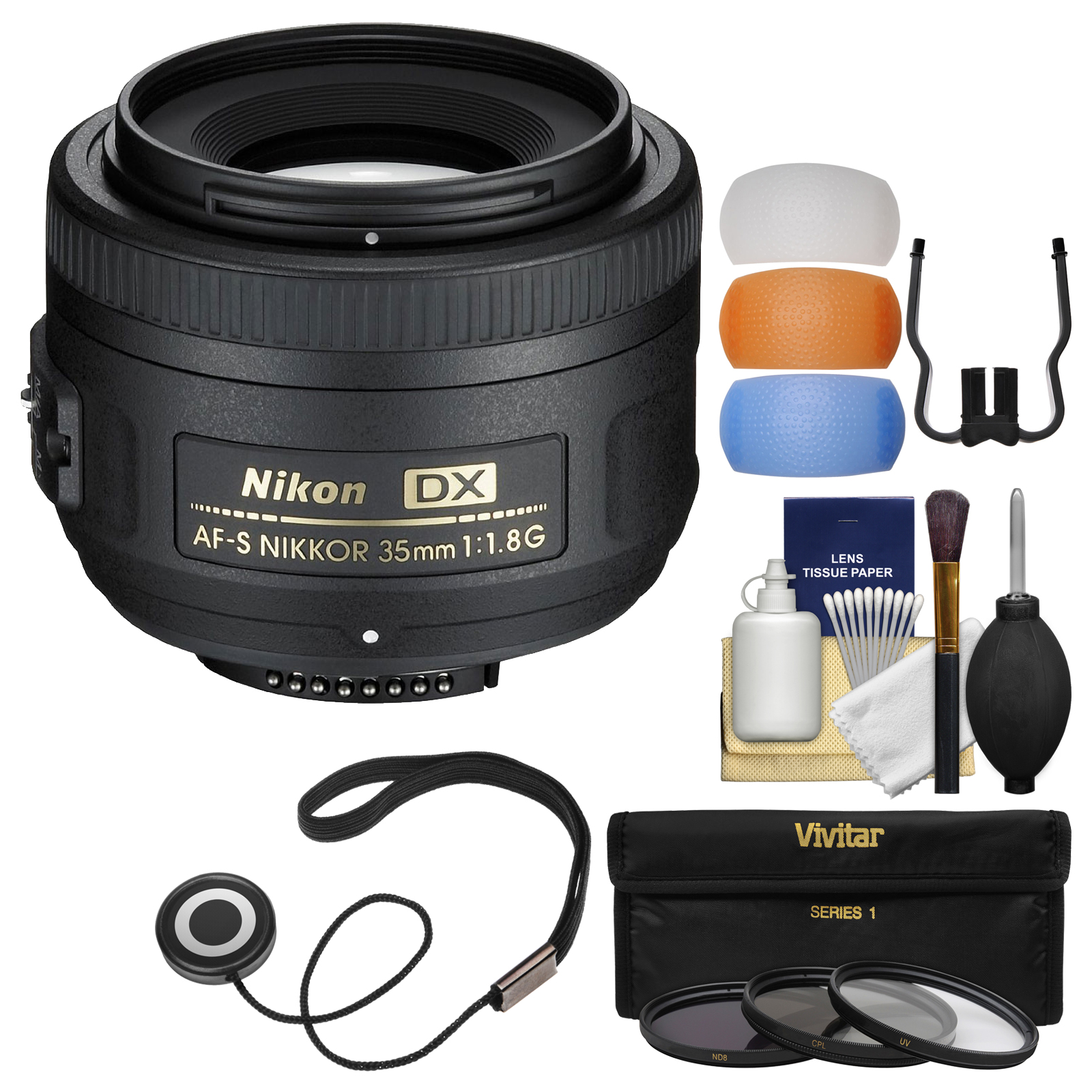 Nikon 35mm f/1.8G DX AF-S Nikkor Lens - Factory Refurbished with 3 (UV/CPL/ND8) Filters + Diffuser Filter Set + Kit