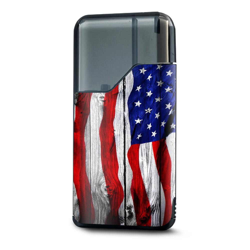 Skin Decal Vinyl Wrap for Suorin Air Kit Vape skins stickers cover/ American Flag on Wood