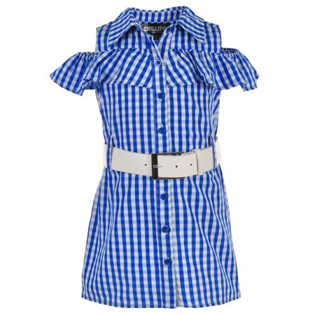 7813ec66bd4 CHILLIPOP - Little Girls  Toddler Belted Cold Shoulder Shirt-Dress (Sizes  2T - 4T) - Walmart.com