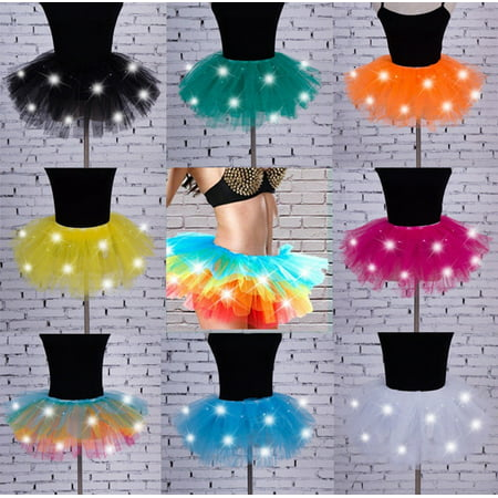 LED Light Up Tulle Tutu Skirt Fancy Dress Hen Party Halloween Costume 8 Layers