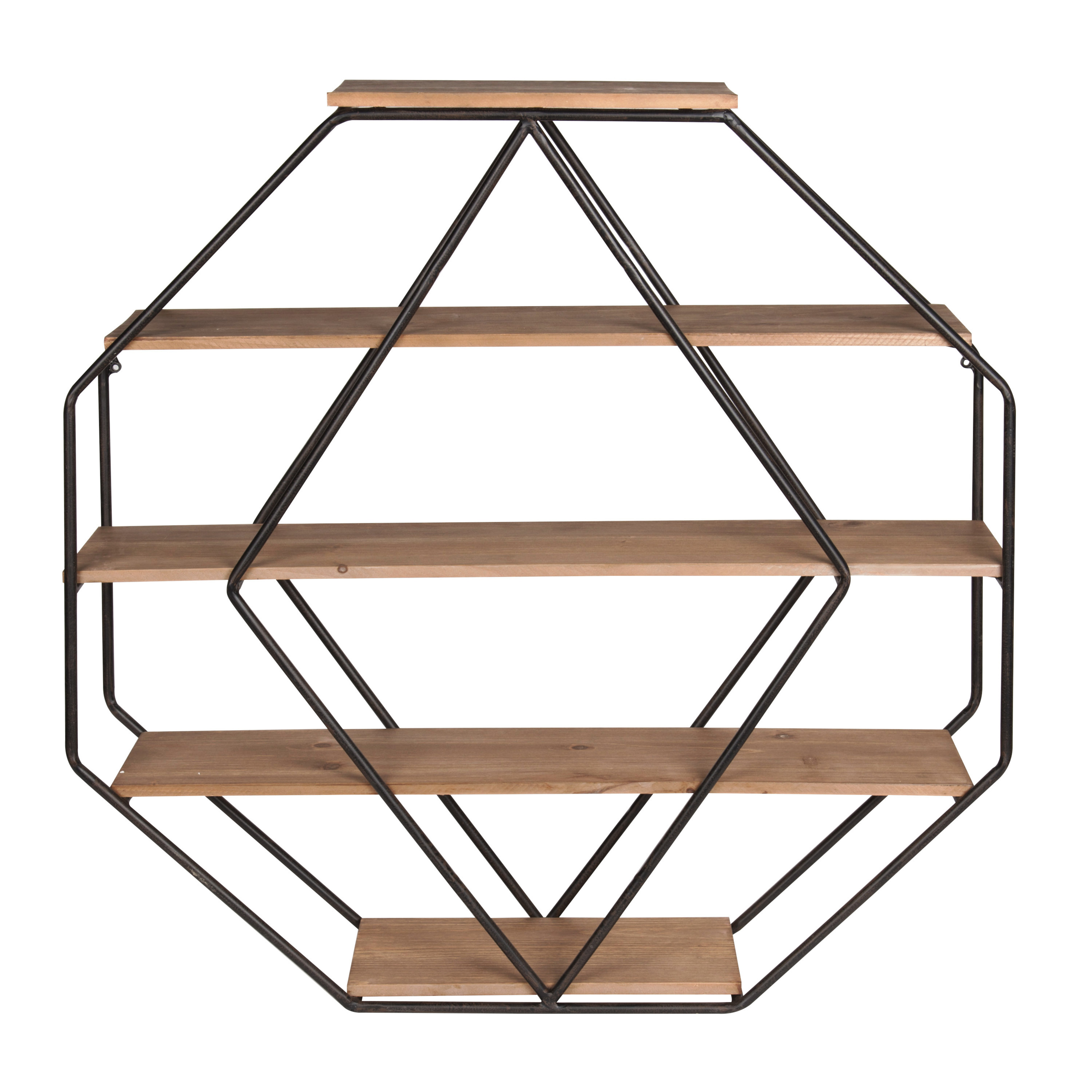 Kate and Laurel Lintz Large Octagon Shaped Floating Wood Book Shelves for Decorative Wall Display, Black Metal Frame with Rustic Brown Shelves