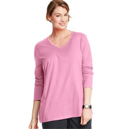 OJ043 Long-Sleeve V-Neck 100 Percentage Cotton Womens Tees, Pink Swish - Size 2X