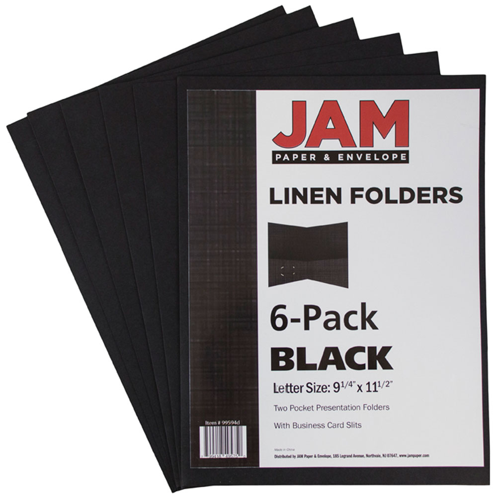 JAM Paper Paper Two Pocket Presentation Folder, Black Linen, pack of ...
