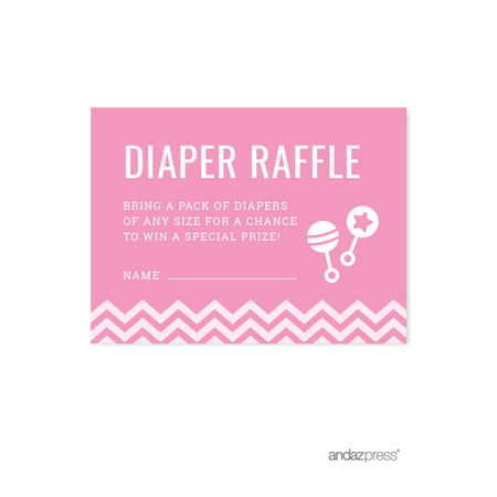 Modern Baby Shower Games (Diaper Raffle Bubblegum Pink Chevron Baby Shower Games,)
