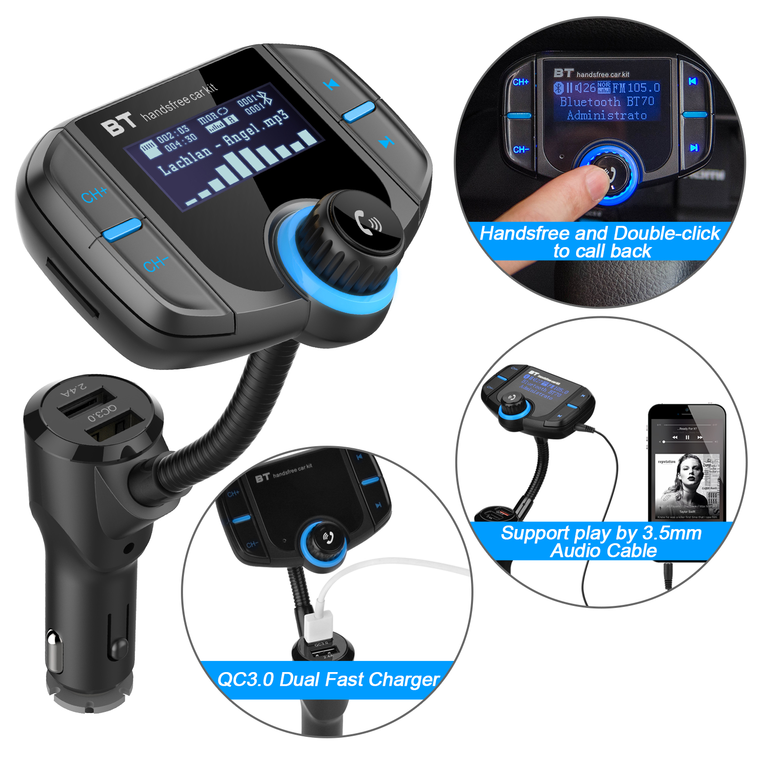 Bluetooth 4.2 FM Transmitter Wireless In-Car Radio Adapter 3.5mm Audio Cable & TF Card Play