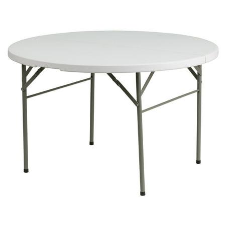 Flash Furniture 48'' Round Bi-Fold Granite White Plastic Folding Table 48' Round Cast Table