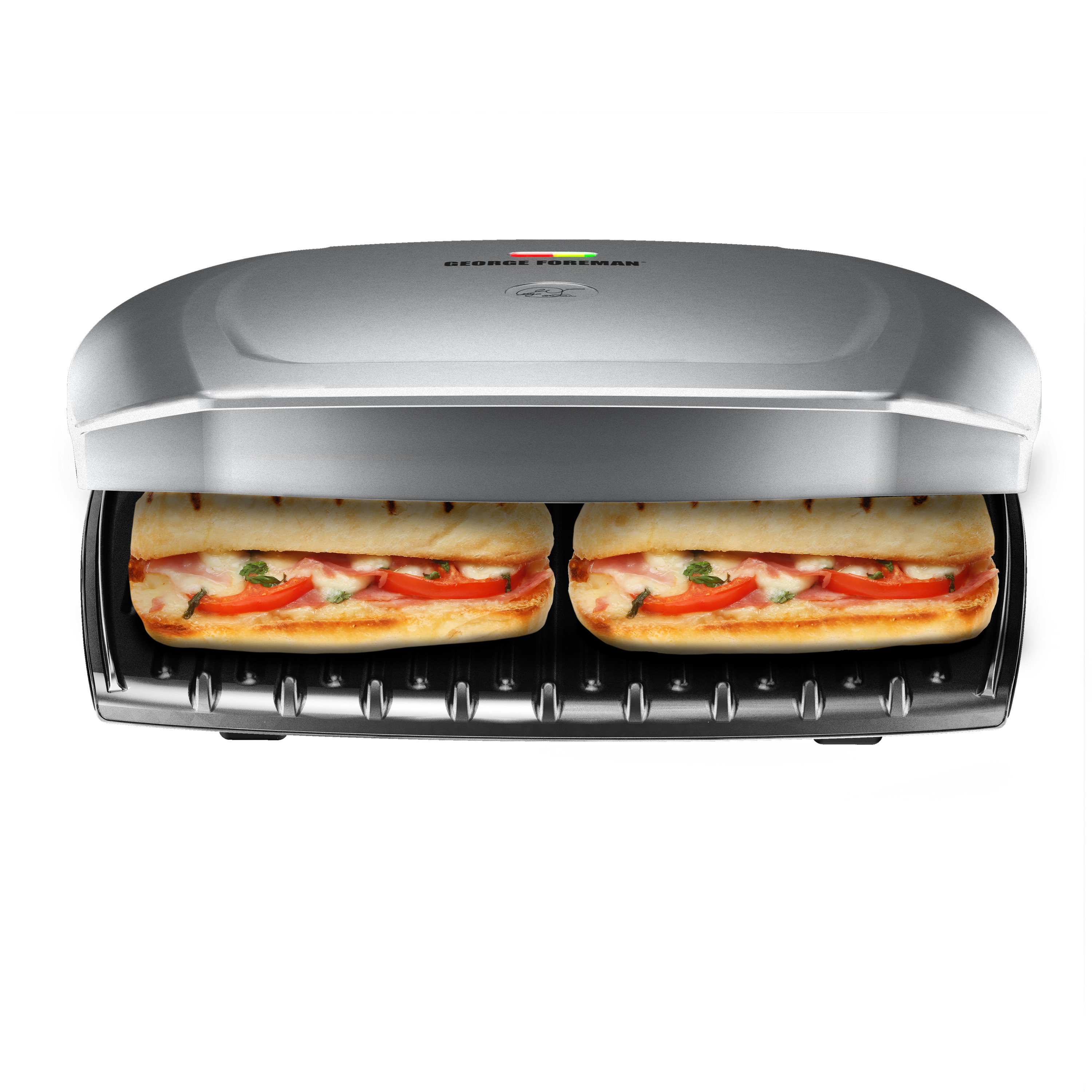 George Foreman 9-Serving Classic Plate Electric Indoor Grill and Panini Press, Platinum, GR2144P