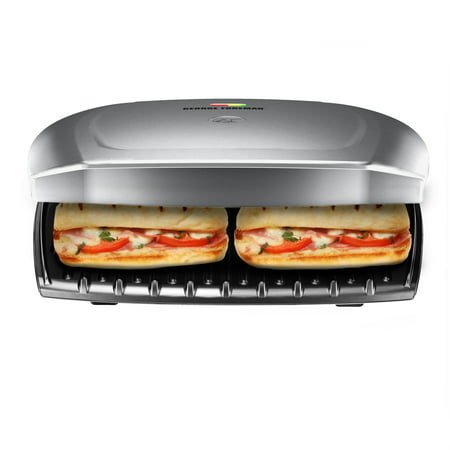 George Foreman 9-Serving Classic Plate Electric Indoor Grill and Panini Press, Platinum,