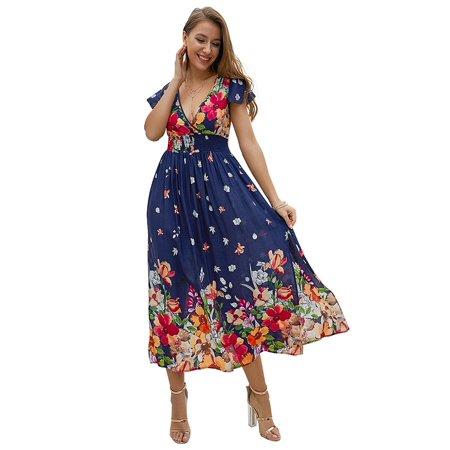 NEW Dress For Women Sexy Bohemian Floral Print Maxi Dress Summer Casual High Waist Pleated V Neck Short sleeve Tunic Split Beach Dresses