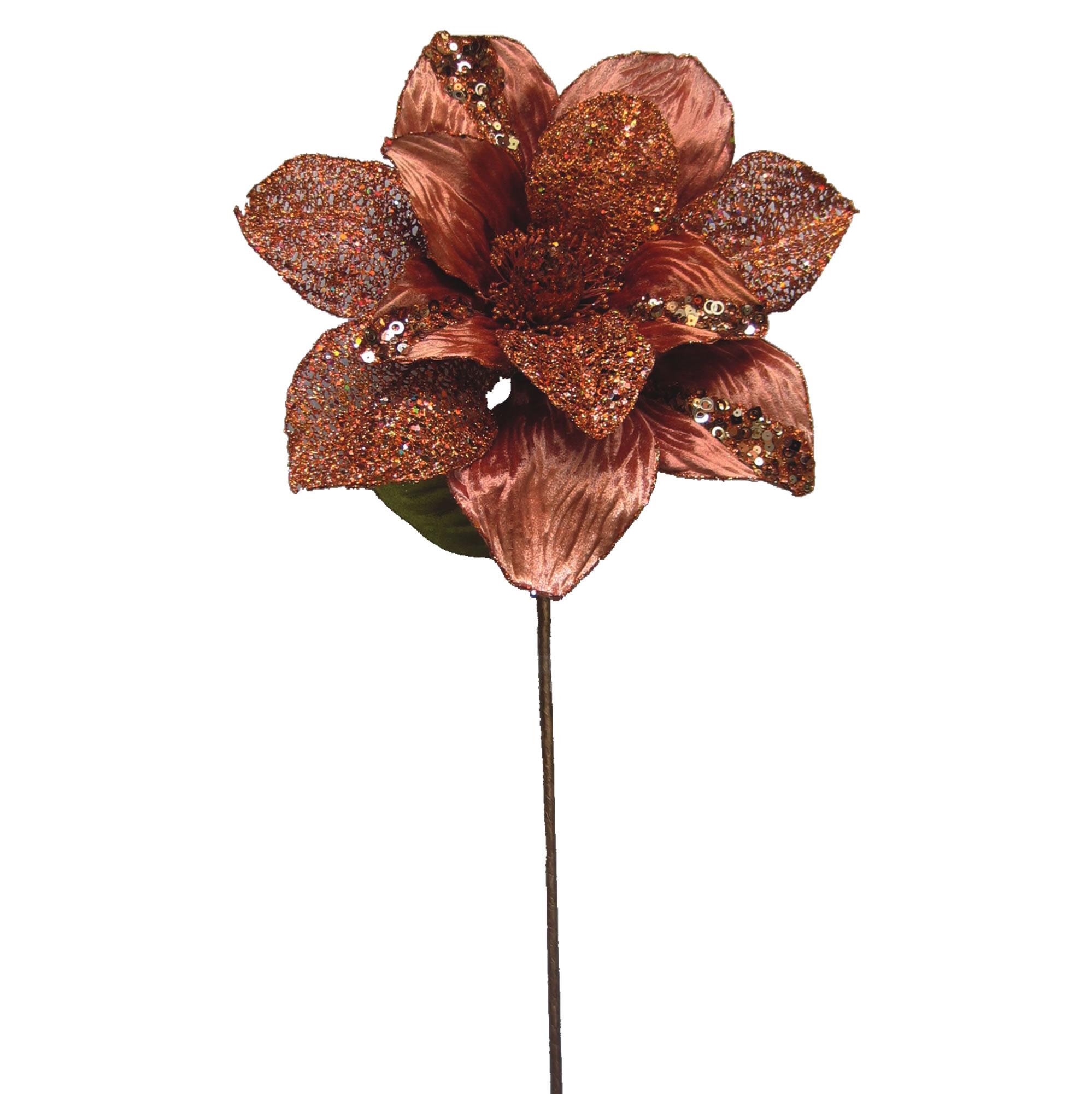 """Vickerman 31"""" Copper Glitter Magnolia 13"""" Flower"""