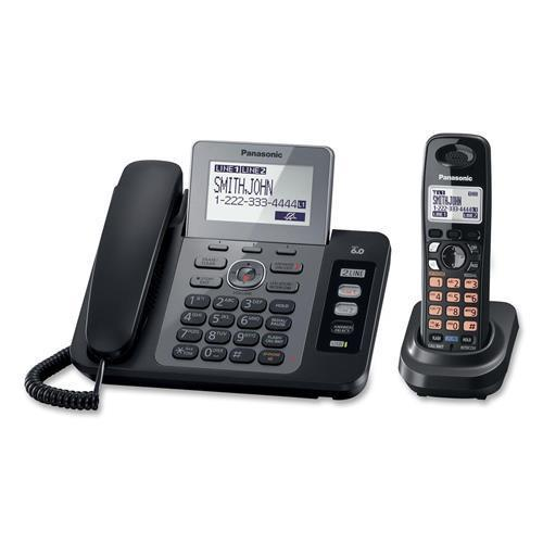 Panasonic KX-TG9471B DECT 6.0 2 Line Expandable Corded Cordless Phones with Caller ID, Digital Answering System and Contact Sync