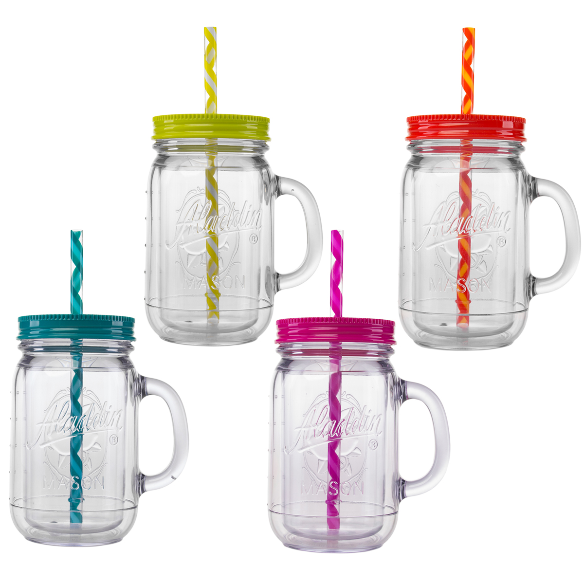 Aladdin 4 Piece 20oz Plastic Mason Jar Set Handled Lidded Tumbler Drinking Cup Mug Glasses & Straws by
