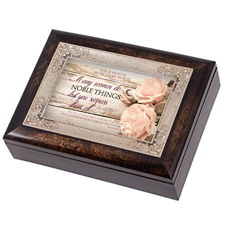 Proverbs 31 Woman Distressed Italian Design Music Box Plays Wind Beneath My Wings Italian Line Design