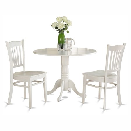East West Furniture Dublin 3 Piece Drop Leaf Dining Table Set with Groton Wooden Seat Chairs ()