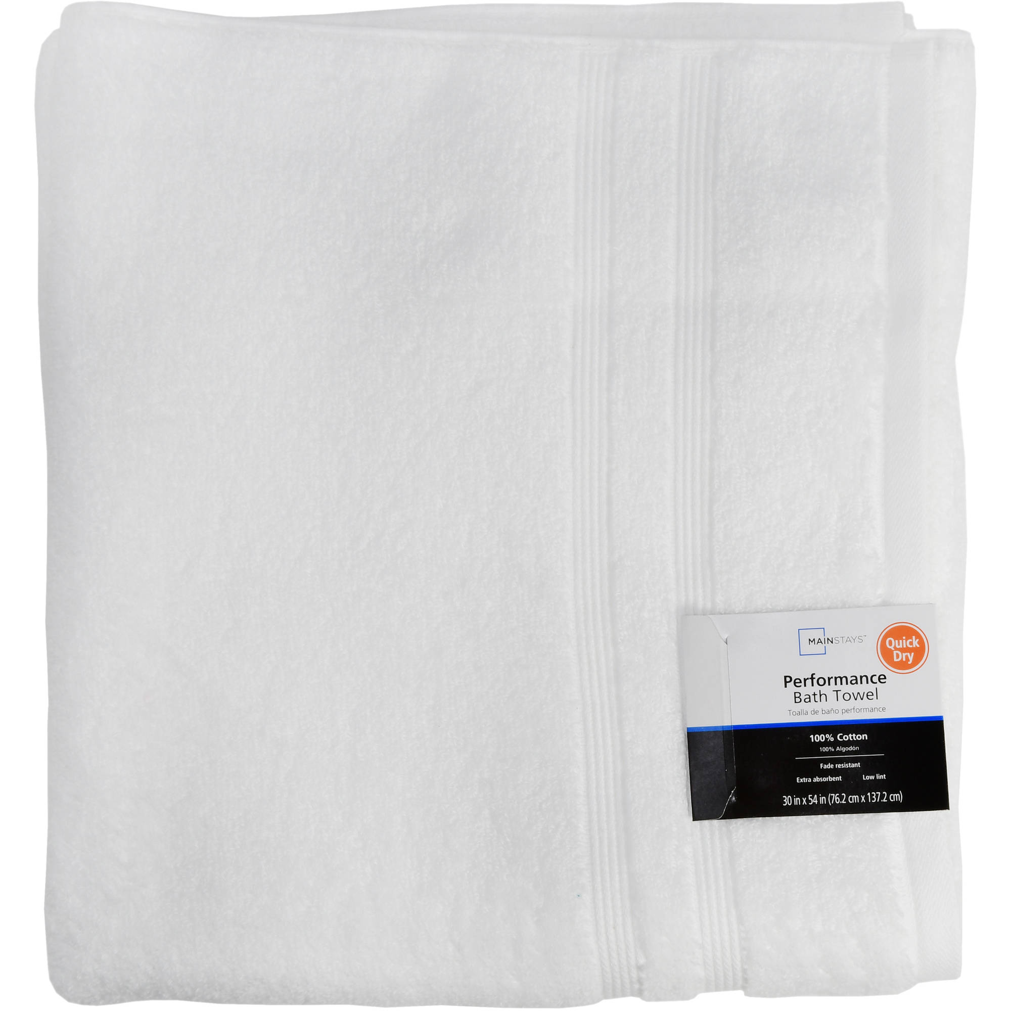 Mainstays Performance Quick Dry Solid Bath Towel Arctic White by WALMART