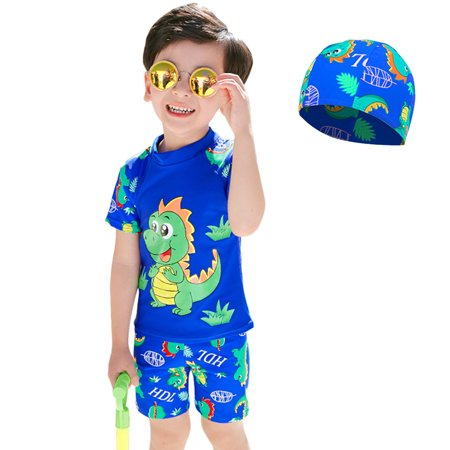 3Pcs/set Kids Baby Boys Split Shark Printing Quick Drying Swimming Suit sapphire M - Chain Link Shark Suit
