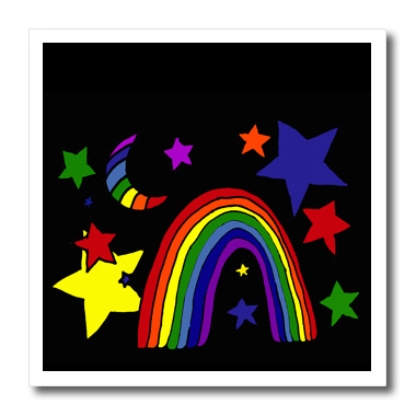 3dRose Inspirational Night Rainbow with Moon and Stars - Quilt Square, 6 by 6-inch