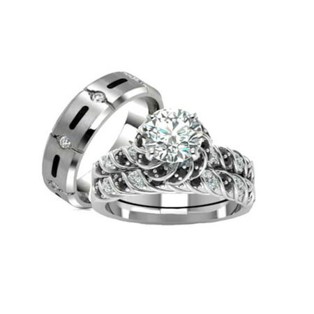 His Hers 3 Piece 925 Sterling Silver and Titanium  CZ  Wedding Ring Set
