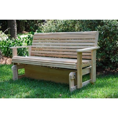 Home Outdoor Furniture Garden Patio Back Yard Porch Rot-Resistant Cypress Wood Contoured Seat 2ft Natural Roll Glider