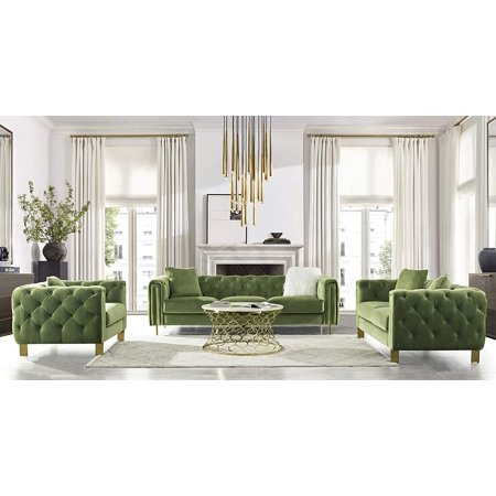 Acanva Luxury Chesterfield Vintage Tufted Velvet Living Room Sofa Set 3 Piece, Mint Green ()