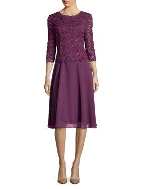 af50396bf7 Product Image Lace Mock A-Line Dress. Alex Evenings