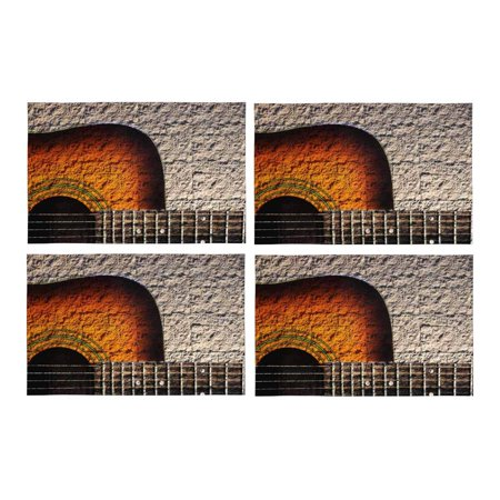 MKHERT Vintage Acoustic Guitar On Stone Wall Placemats Table Mats for Dining Room Kitchen Table Decoration 12x18 inch,Set of 4 (Guitar Table Decorations)