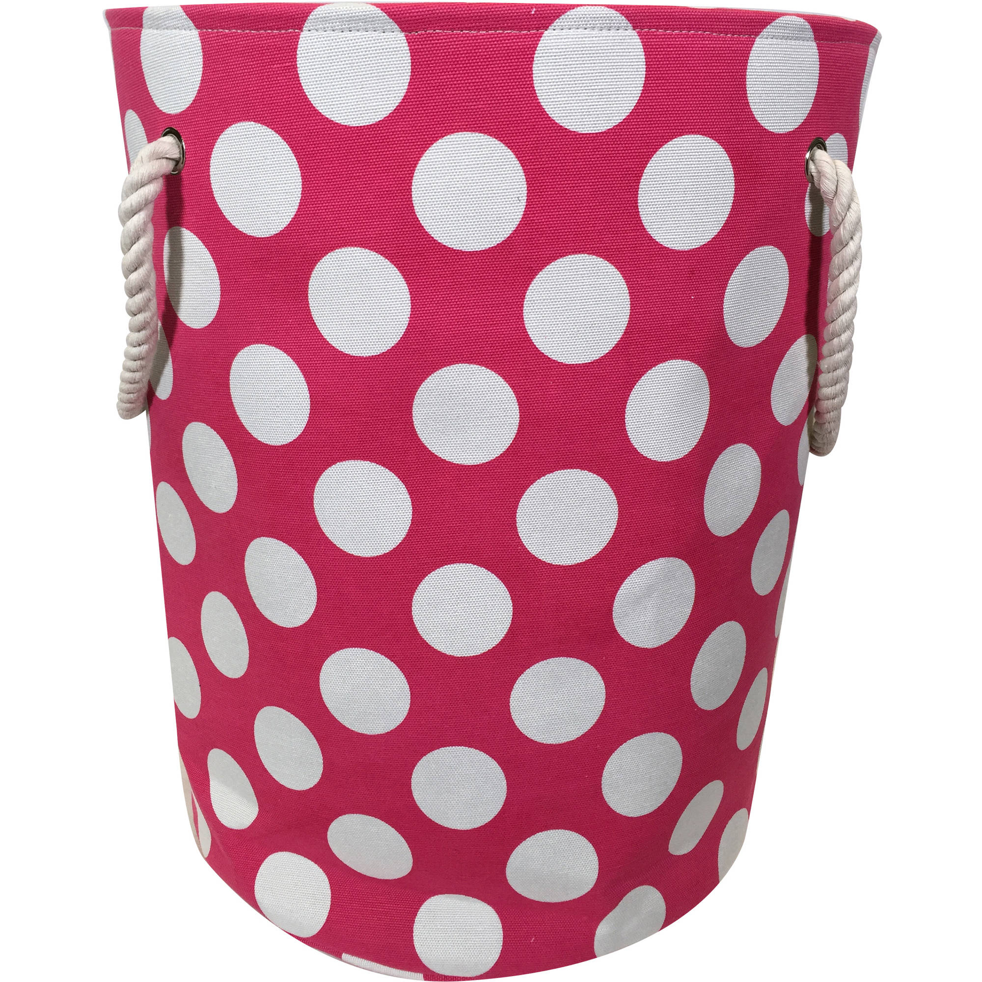 Mainstays Kids Canvas Laundry Hamper with Rope Handles, Pink Dot