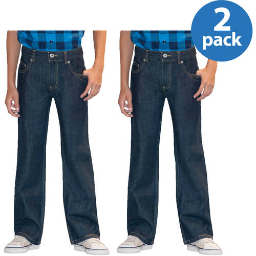 Faded Glory Slim Boys' Bootcut Denim Jeans, 2 Pack Value Bundle