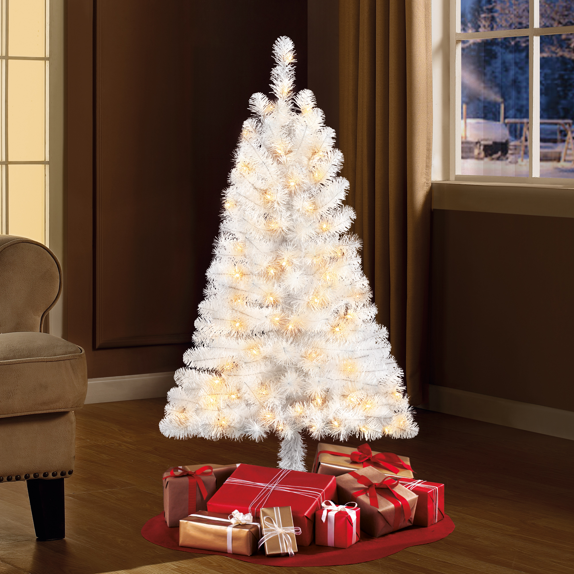White Christmas tree clearance - Holiday Time Pre-Lit 4' Indiana Spruce White Artificial Christmas Tree