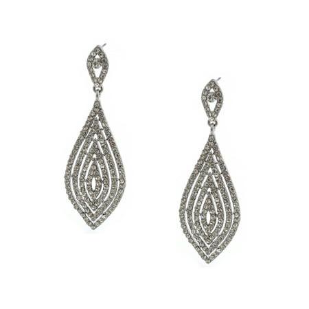 Wedding Earring Flower Shape Rhodium Crystal Stud Dangle