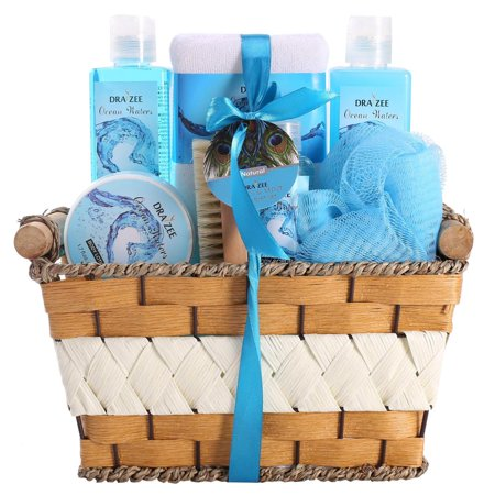 "Fragrance Spa Basket (Spa Gift Basket with Refreshing ""Ocean Bliss"" Fragrance by Draizee – Best Gift Idea for Holiday, Christmas for Men And Women)"