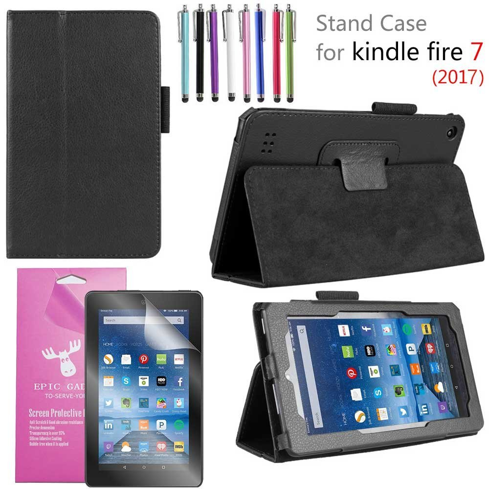 "Amazon Fire 7"" 2017 Case, EpicGadget(TM) 7th Generation Fire 7 Premium PU Leather Folding Folio Case with Built in Stand For Fire 7 inch (2017 Release) + 1 Screen Protector and 1 Stylus (Black)"