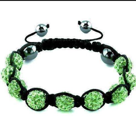 ON SALE - Lime Green Sparkly Crystals Hand Made Shamballa Bead Bracelet Green