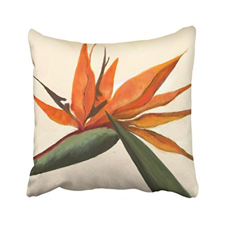 WinHome Cute Retro Fashion Bird Of Paradise Polyester 18 x 18 Inch Square Throw Pillow Covers With Hidden Zipper Home Sofa Cushion Decorative Pillowcases Bird Of Paradise Cover