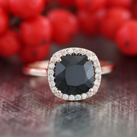 Limited Time Sale 1.25 carat Black Diamond Halo Engagement Ring Wedding Ring in 10k Rose Gold for Women on Affordable
