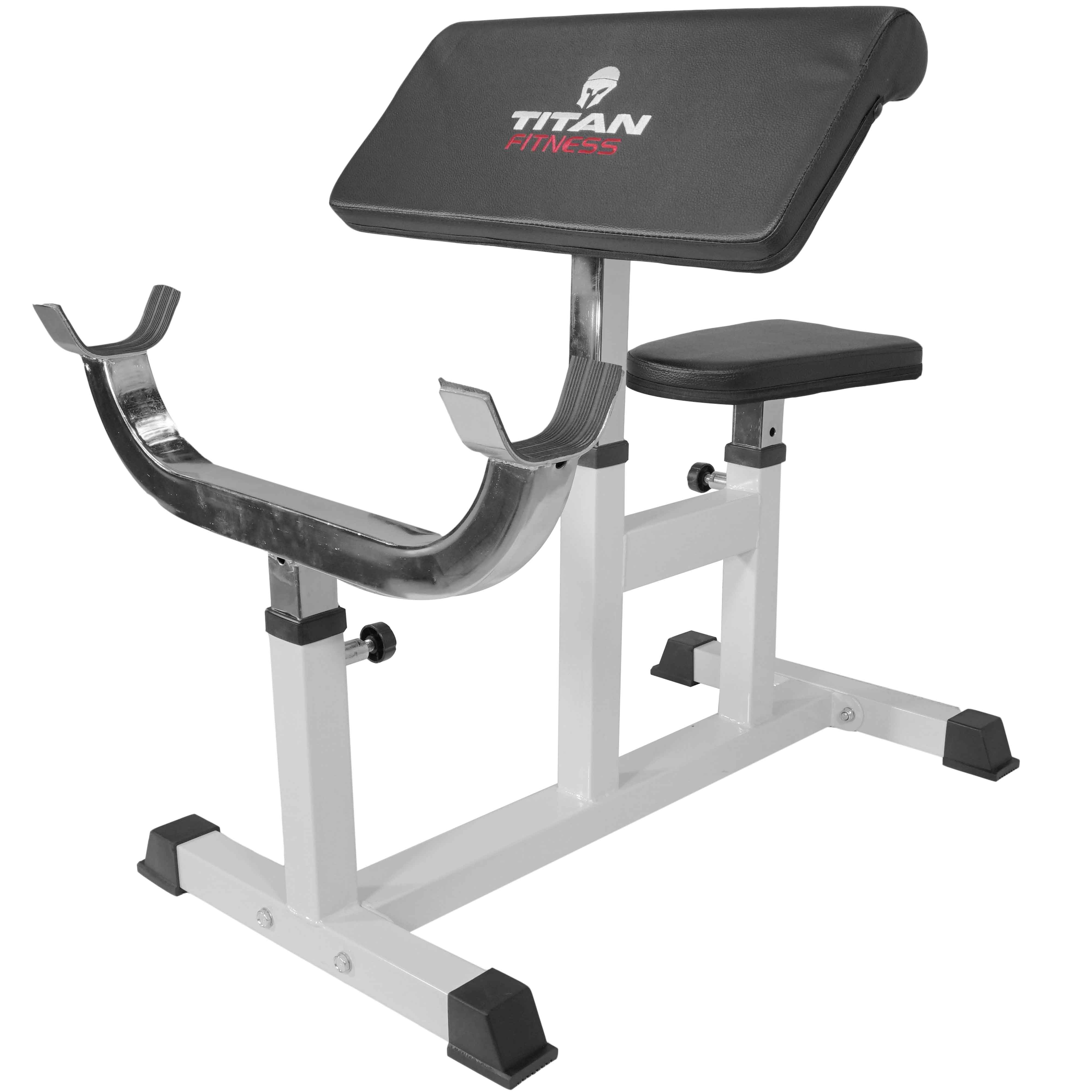 Titan Preacher Curl Station Seated Strength Training Bench Bicep Home Gym