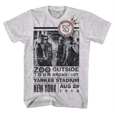 Live Nation Lnm 2U109 M U2 Outside Zoo Tour Slim Fit T Shirt   Heather White   Medium