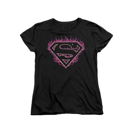 Superman DC Comics Superhero Fuchsia Flames Classic S Shield Women's T-Shirt Tee