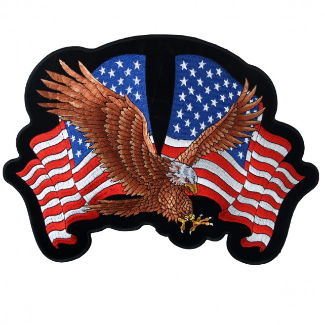"""Eagle 2 Flags, American Eagle With Usa Flags - High Thread Iron-on / Saw-on Rayon PATCH - 4"""" X 3"""""""