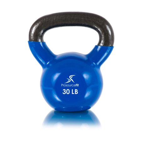ProsourceFit Vinyl Coated Cast Iron Kettlebells Color-Coded 5 to 45 lb. with Extra Large Handles for Full Body Fitness Workouts