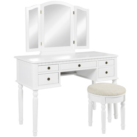 Best Choice Products Bedroom Vanity Hair Dressing Table Set with Tri-Folding Mirror and Upholstered Stool Seat,