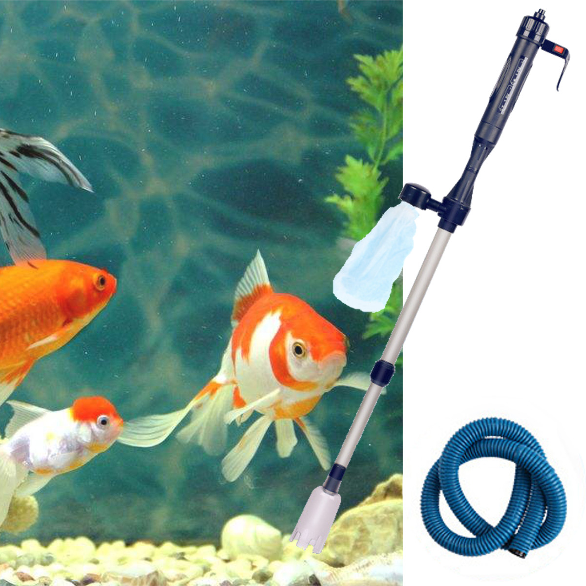 Battery Powered Aquarium Gravel Cleaner Vacuum Siphon Fish Tank Water Change by