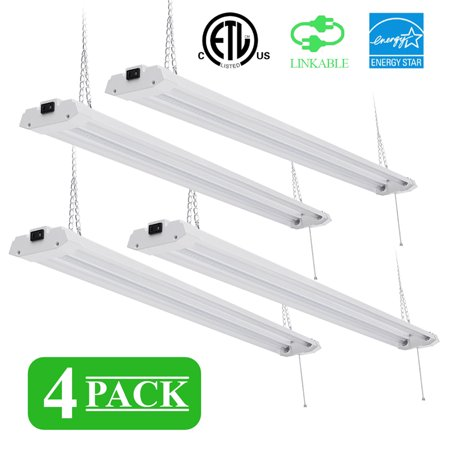 4 Packs 40W 48Inch Hanging or Flush Mount LED High Bay Light Shop Light with Pull Chain, 5000K White Garage Commercial Warehouse Industrial Factory Replacement Light (Buy Warehouse)