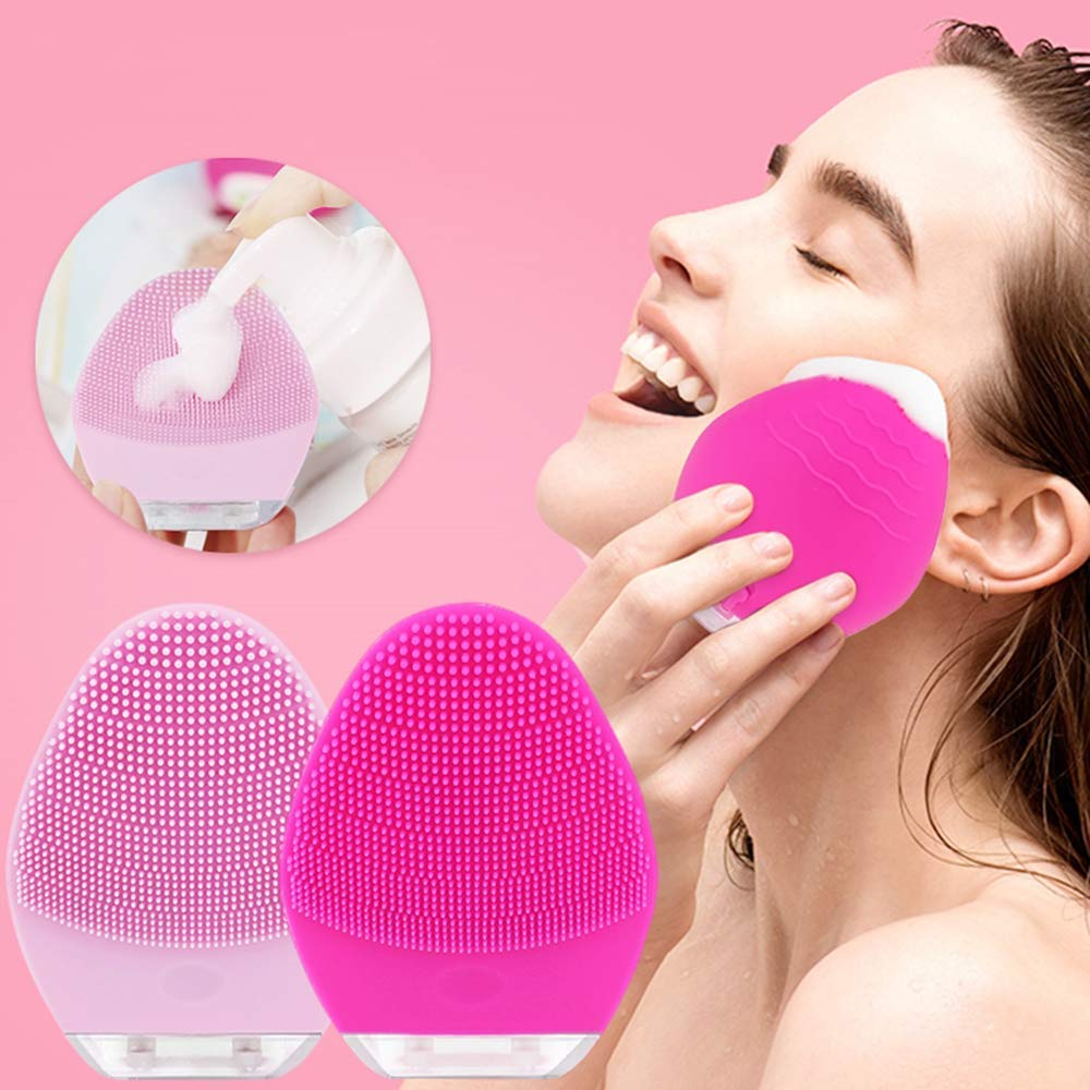 1 packSonic Electric Facial Cleansing Brush Waterproof Rechargeable Silicone Face Brush,1200 Brush Heads Deep Cleaning,Gentle Exfoliation And Face Massage Color(Pink)