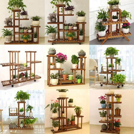 5/6 Tier Rolling Plant Stand Natural Wood Plant Rack with Wheels Indoor Outdoor Plant Display Patio Stand Bonsai Pots Flowers Shelf for Home Garden Decor Bonsai Forest Wood