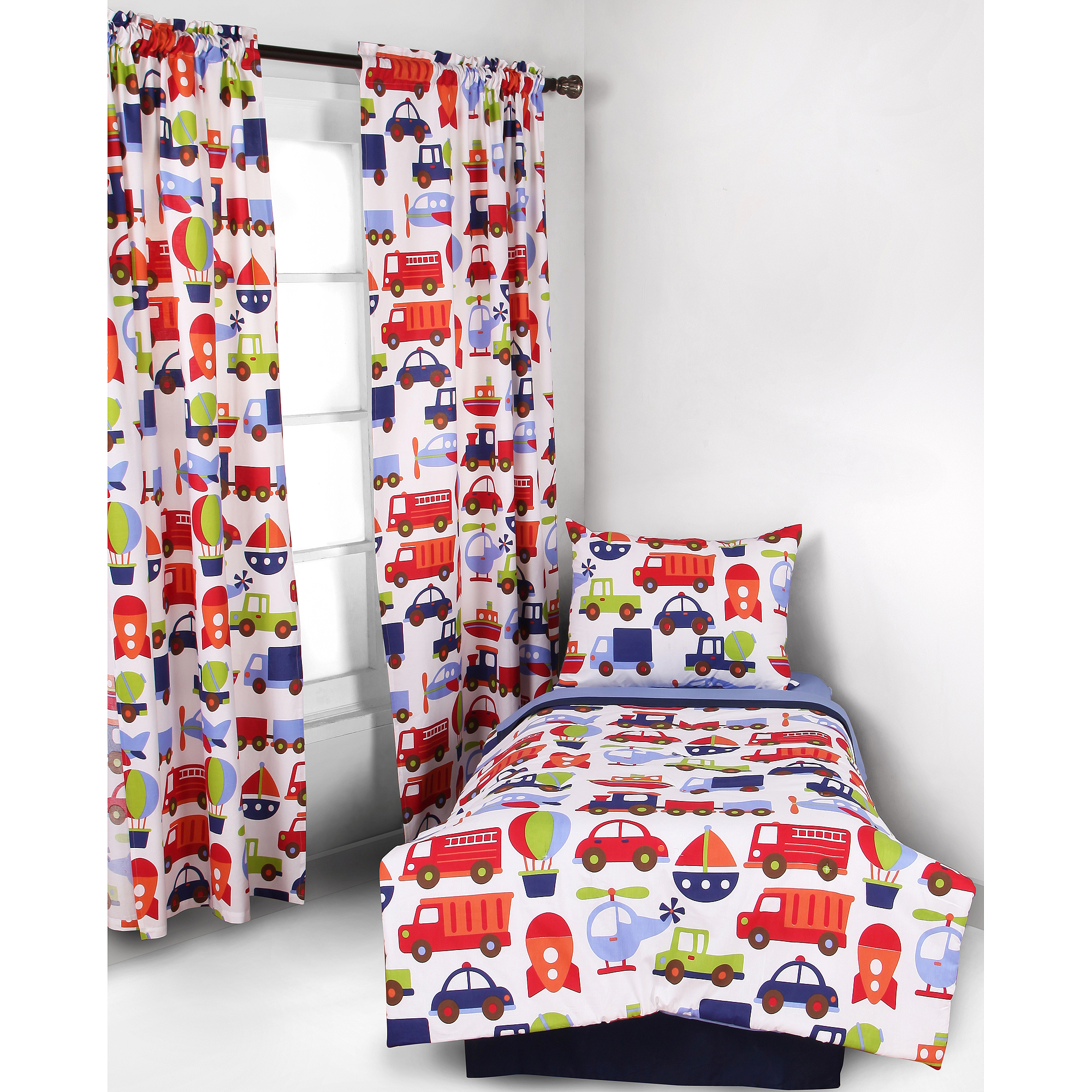 Bacati- 4pc Toddler Bedding set 100% Cotton percale,  Transportation