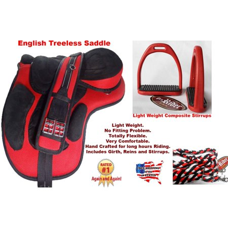 English Horse Professional Equine Synthetic Treeless Saddle Stirrups 80201RD